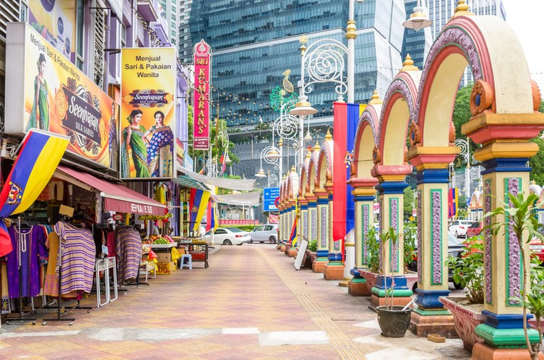 The colours and shops of Little India in Brickfields, Kuala Lumpur