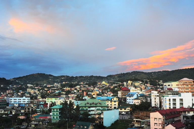 Baguio city at sunset, Luzon Island, Philippines