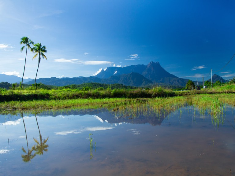 View of Mount Kinabalu from another village