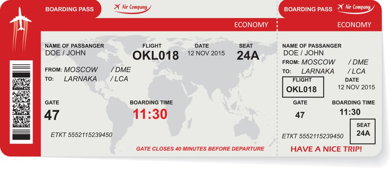 A stock image of a boarding pass