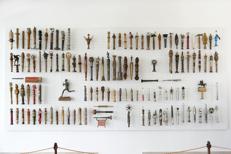 Collection of batons given to Yugoslavia's former president Josip Broz Tito inside House of Flowers