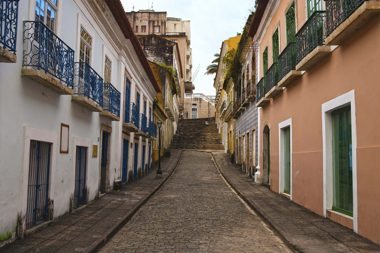 Street of the historic center of the city of Sao Luis of Maranhao in Brazil.