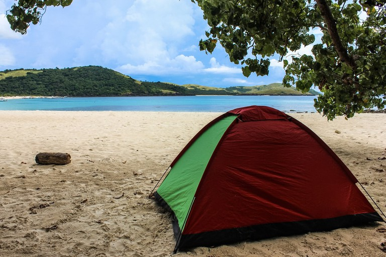 Camping on the beach in Calaguas, Philippines