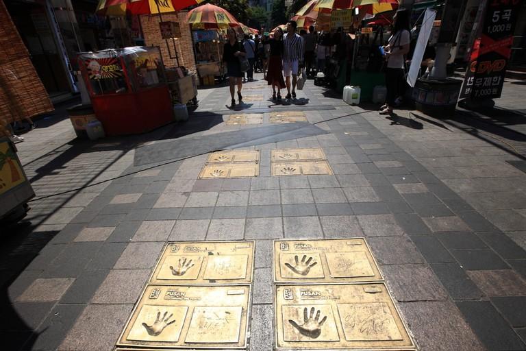 Celebrity handprints in BIFF Square