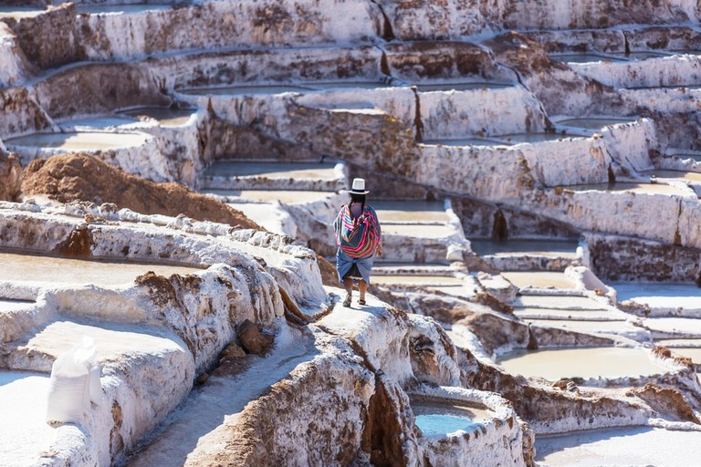 Maras salt ponds located at the Urubamba, Peru