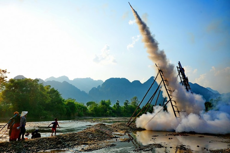 Laotian people take partin the Laos rocket festival Boun Bang Fai