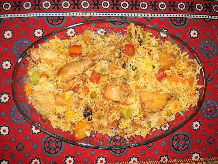 Sindhi biryani is made from the generous use of chopped chillies and roasted spices