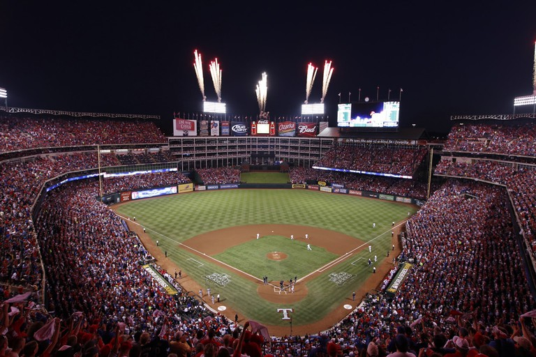 Firework show at the Texas Rangers Globe Life Park