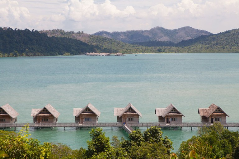 Telunas Private Island villas with Telunas Beach in the distance