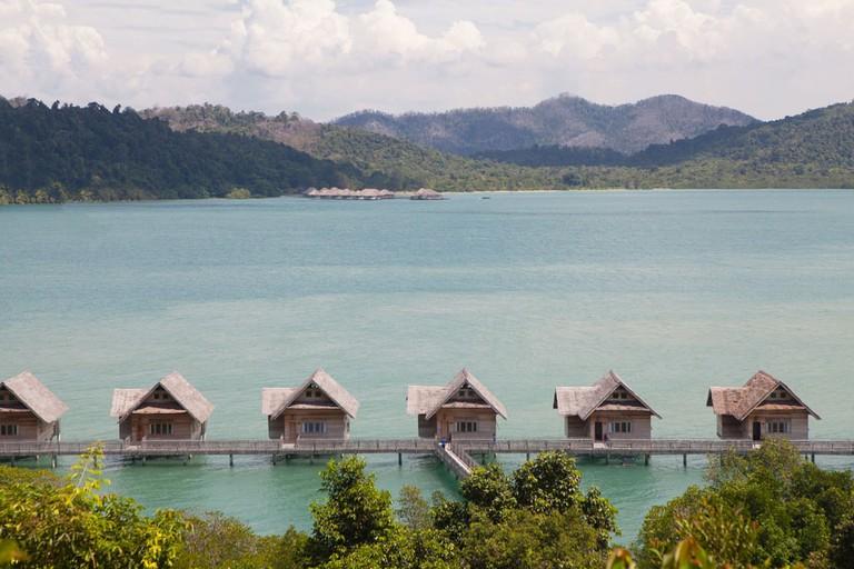 Telunas Private Island villas with Telunas Beach in the distance