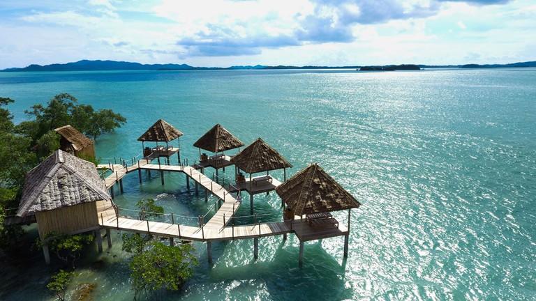 Telunas Private Island Spa Aerial