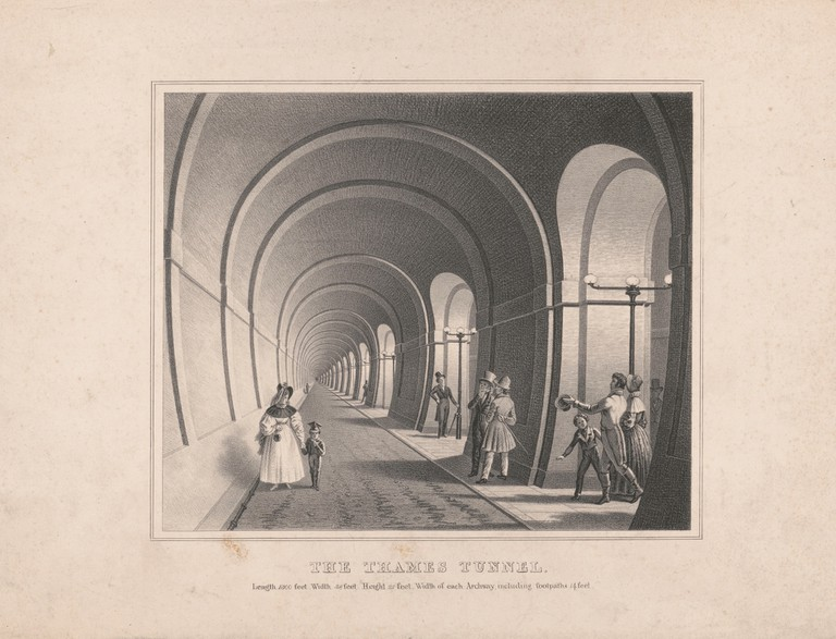 A lithograph of the Thames Tunnel