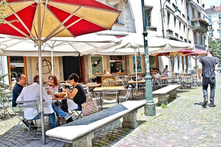 The sunny pattio of bar and bistrot Tre Galli, Turin | Courtesy Tre Galli Photo: Stefania Bonatelli photography