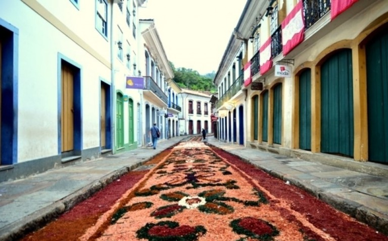 The decorated streets of Ouro Preto during Semana Santa (Holy Week)