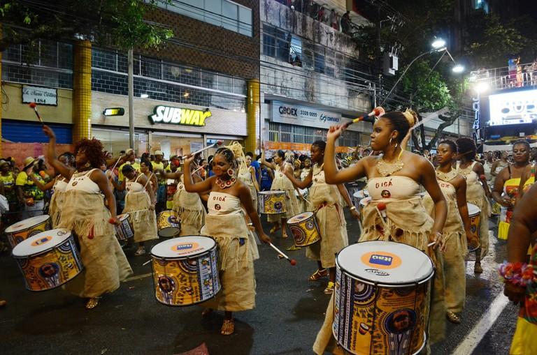 Banda Dida a female percussion band in Bahia in Brazil