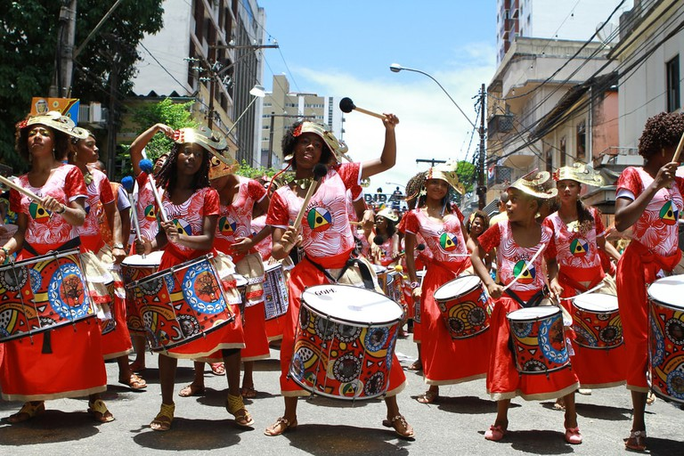 Banda Dida a female percussion group in Bahia Brazil
