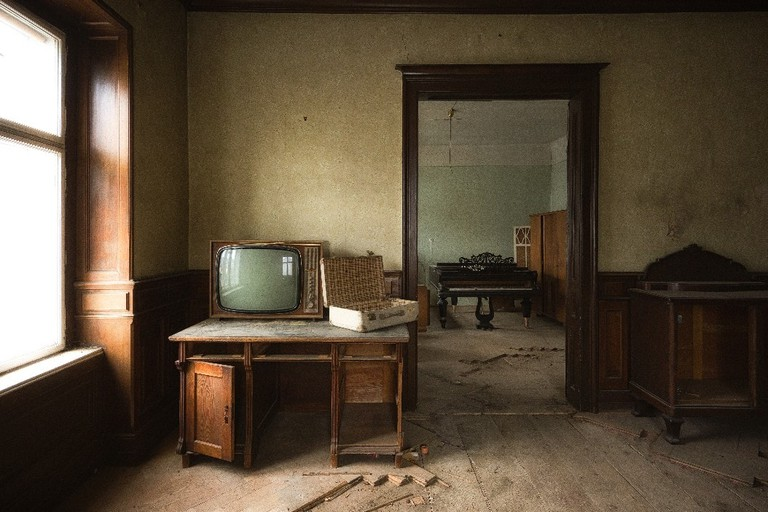 Forgotten furniture and belongings in an abandoned Villa