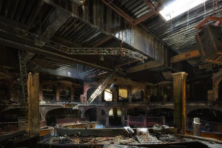 An abandoned night club, burned down