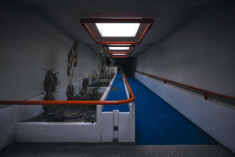 Dark corridor in an abandoned nursing home