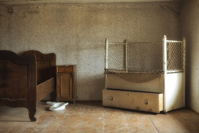 One of the bedrooms in an abandoned Villa