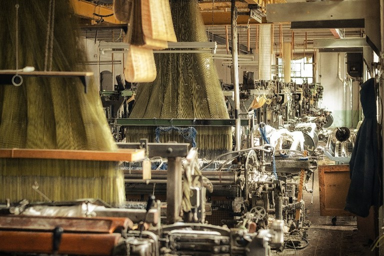 One of the production halls in an abandoned textile factory