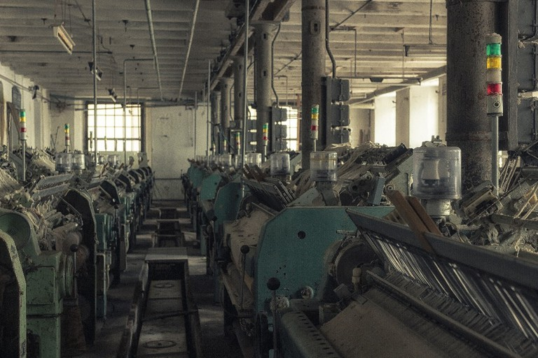 Hall of an abandoned textile factory