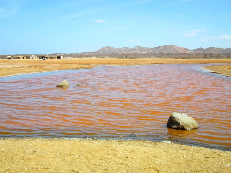 A red salt lake in La Guajira