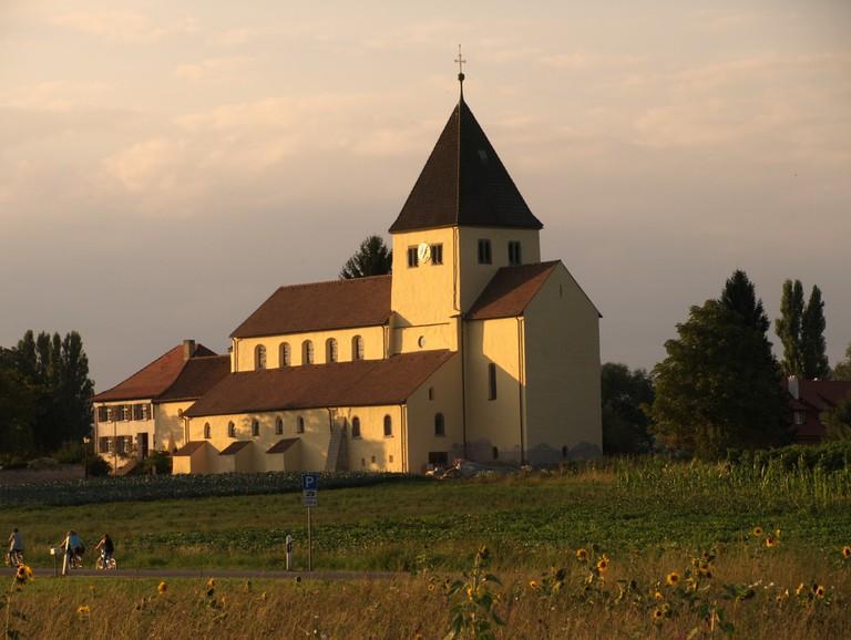 The St. Georg Church on Reichenau as seen from the biking path