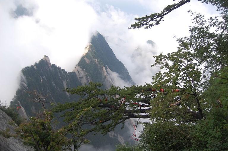 Mount Huashan peaks in the mist