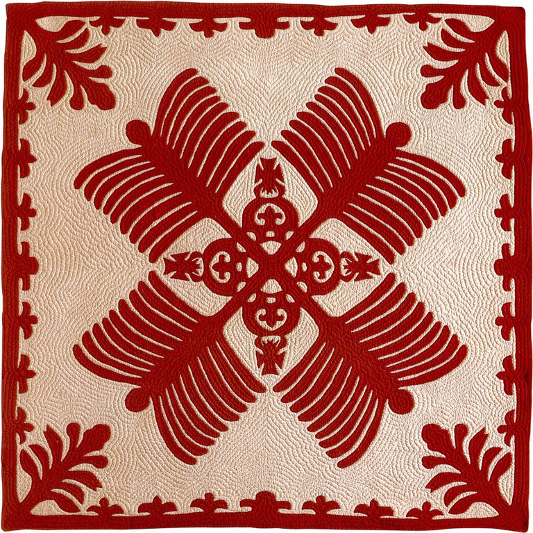 Na Kalaunu Me Na Kāhili quilt from 1886