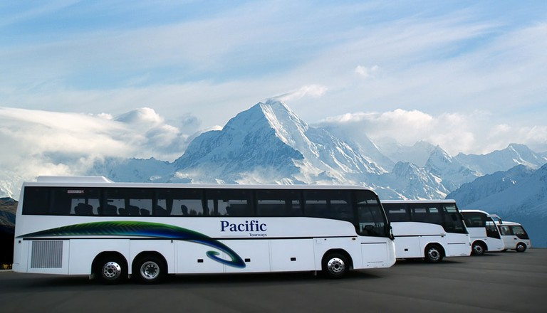 Tour buses and shuttles in Aoraki/Mt Cook National Park, New Zealand
