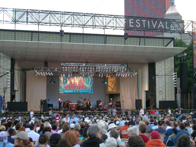 The Chicago Blues Festival is held outdoors in Millennium Park.