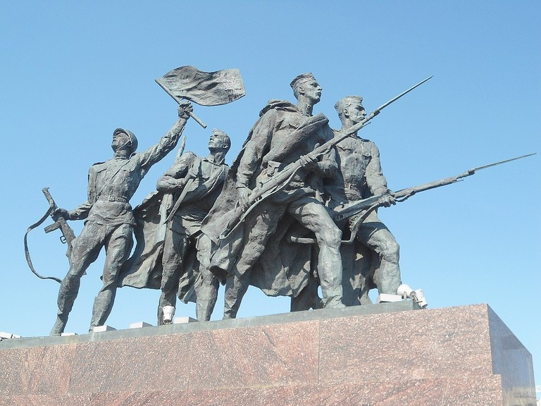A close up of the Monument to the Heroic Defenders of Leningrad