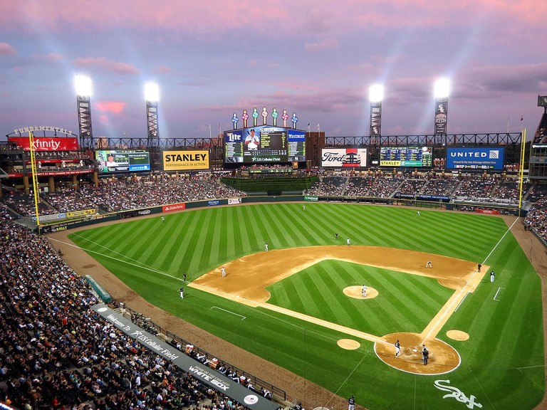 Chicago's White Sox play at dusk at Guaranteed Rate Field
