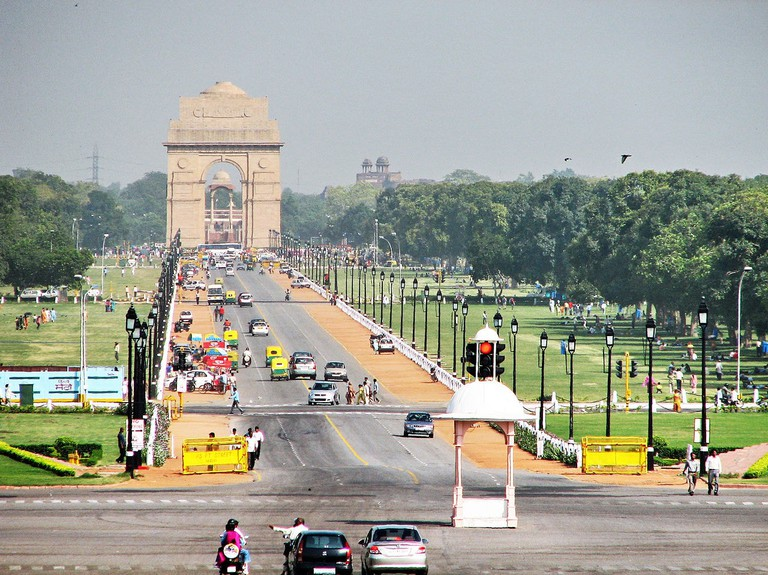 View of the famed war memorial India Gate from Raisina Hill