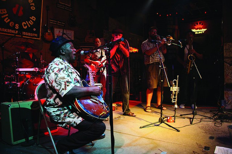 Band plays at Ground Zero Blues Club in Clarksdale, MS