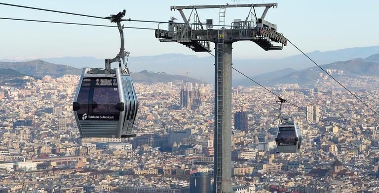 The Telefèric de Montjuïc cable cars