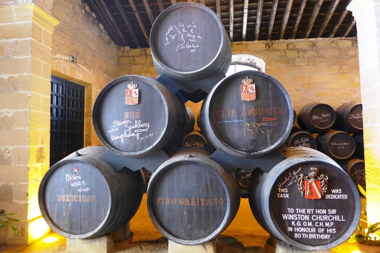 Signed sherry barrels at the González Byass cellar