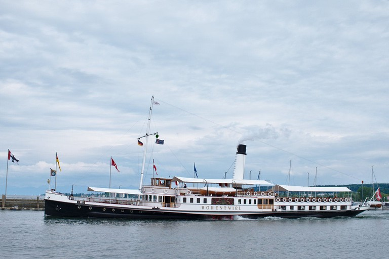 The beautifully restored paddle steamer Hohentwiel on Lake Constance