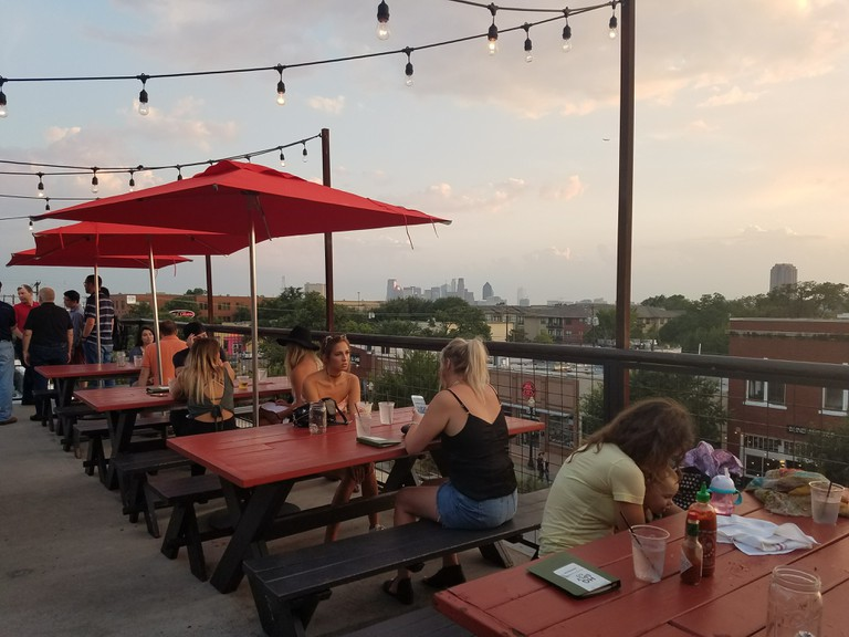 HG Sply Co. has a wonderful rooftop bar with views of downtown Dallas