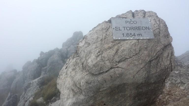 The peak of Mount Torreón is often in the clouds