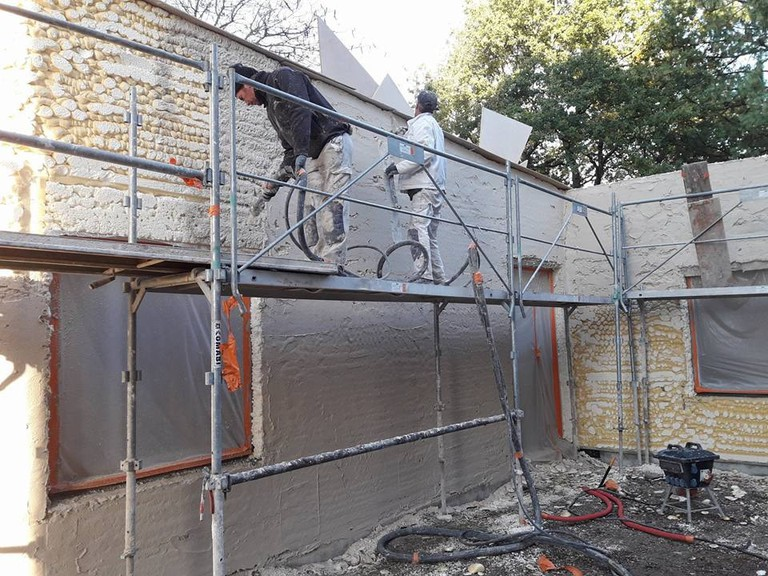 The early stages of the world's first 3D-printed house