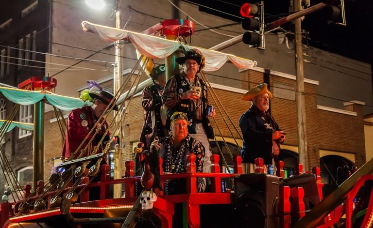Pirates in the Sant' Yago Illuminated Knight Parade during Gasparilla Season in Tampa.