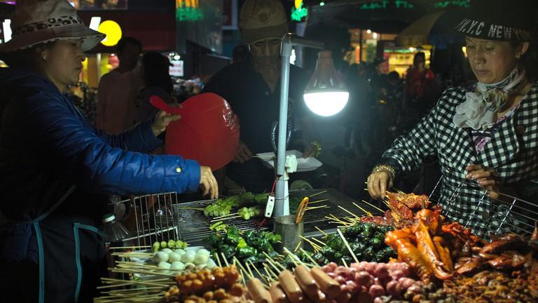 Grilled street food in Vietnam