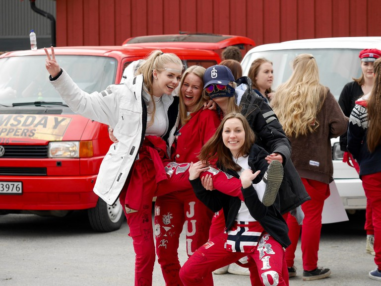 Students during russefeiring