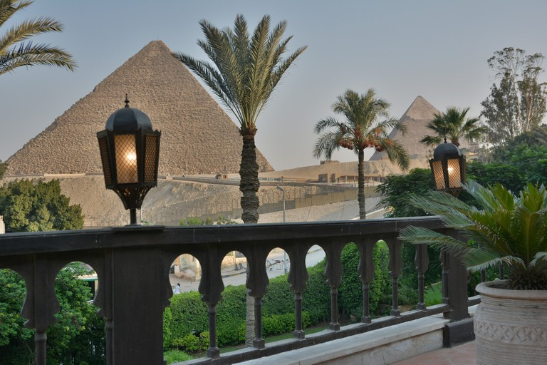 Pyramid view from Marriott Mena House Hotel, Egypt