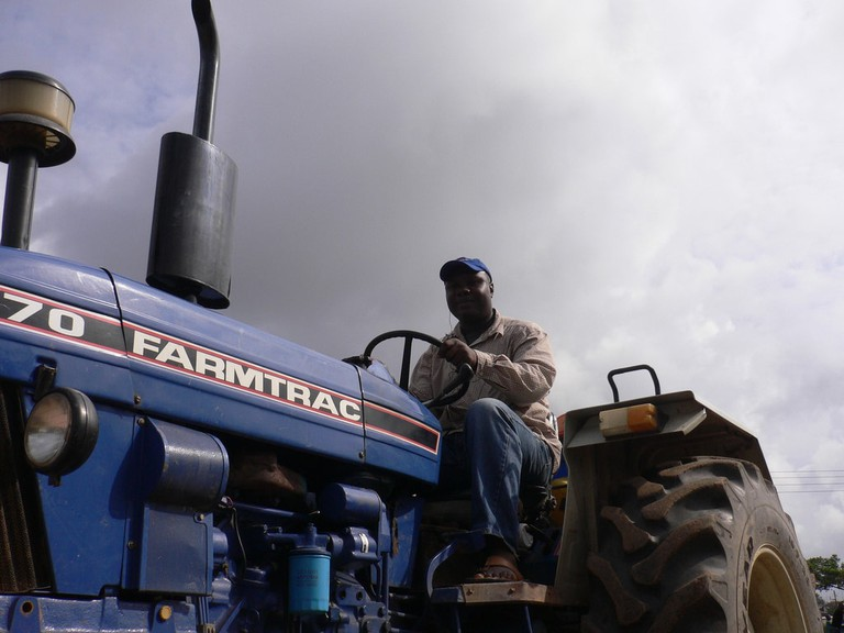 A farmer from Jukwa on his tractor