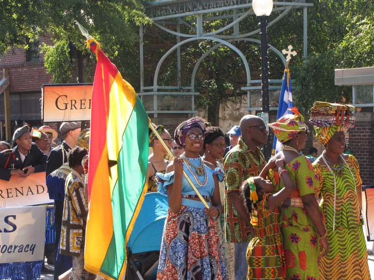 The International Folk Festival Parade: you can't tell African-Americans from Ghanaians