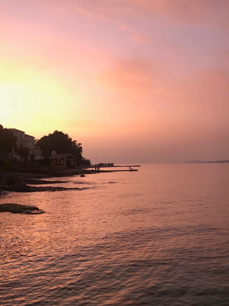 Sunset on Spetses island in Greece