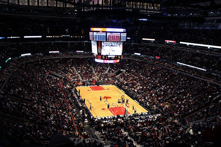 The Chicago Bulls playing at the United Center.